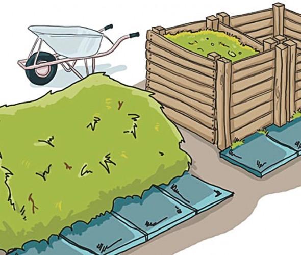 Komposthaufen und Doppelkomposter