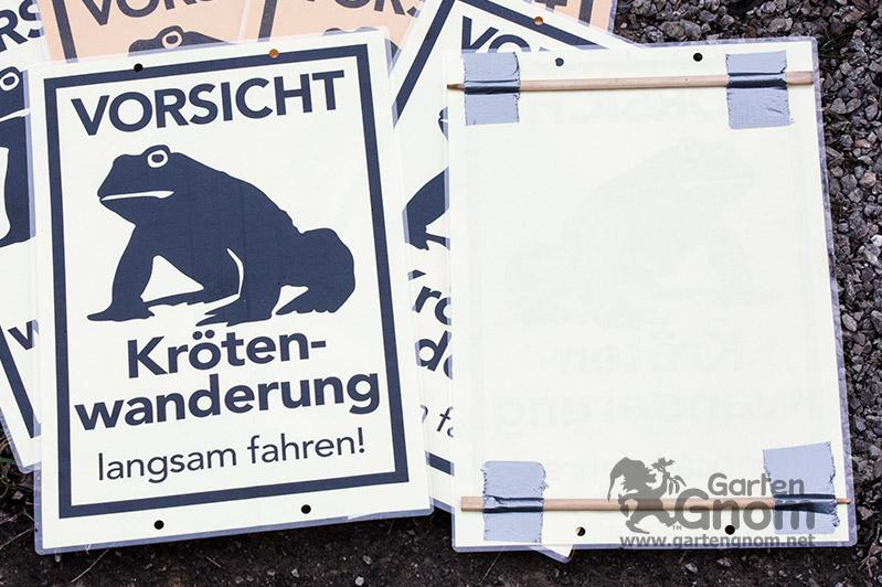 Krötenwanderung-Schilder basteln