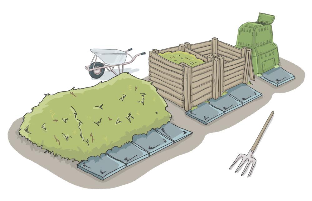 Komposthaufen und Komposter