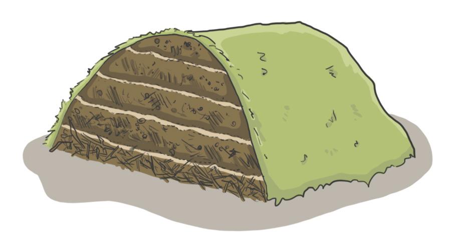 Die Schichten der Kompostmiete