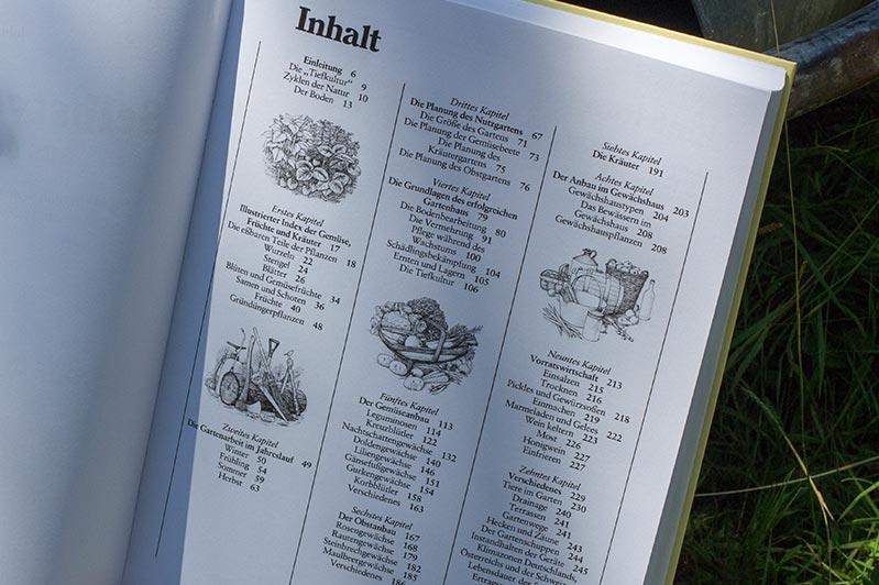 """Inhaltsverzeichnis des Buchs """"Selbstversorgung aus dem Garten"""" von John Seymour."""